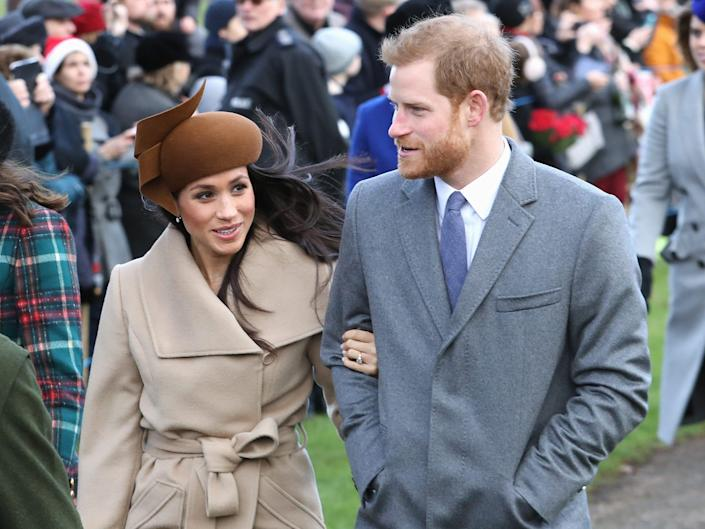 Meghan Markle and Prince Harry on Christmas at Sandringham in 2017.