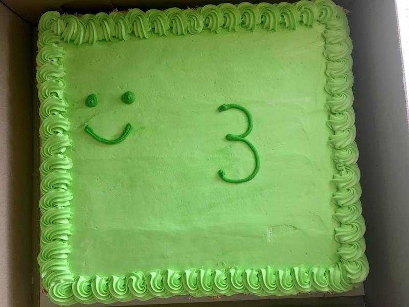 The birthday cake Shane Hallford bought for his son, Mason, 3, from Woolworths in Australia.