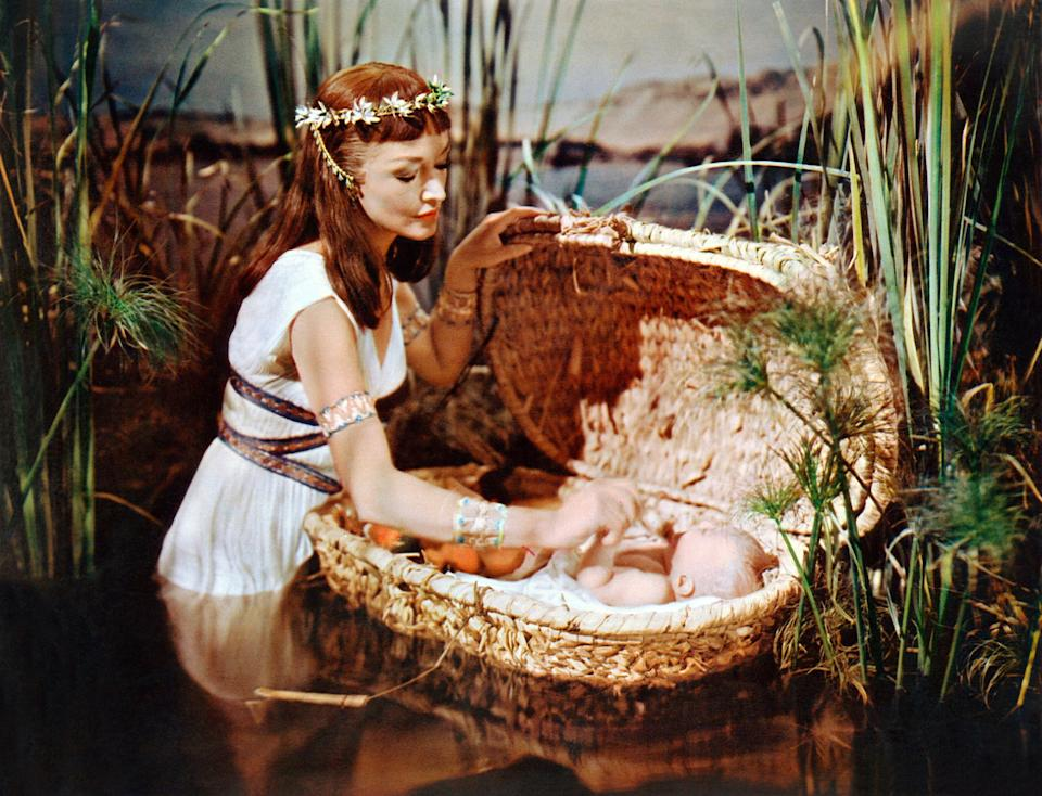 Anne Baxter as Nefertari and Fraser Heston as Baby Moses in 'The Ten Commandments' (Photo: Courtesy Everett Collection)