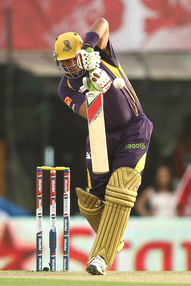 Jacques Kallis of Kolkata Knight Riders drives a delivery during match 20 of the Pepsi Indian Premier League between The Kings XI Punjab and the Kolkata Knight Riders held at the PCA Stadium, Mohal, India  on the 16th April 2013..Photo by Shaun Roy-IPL-SPORTZPICS  ..Use of this image is subject to the terms and conditions as outlined by the BCCI. These terms can be found by following this link:..https://ec.yimg.com/ec?url=http%3a%2f%2fwww.sportzpics.co.za%2fimage%2fI0000SoRagM2cIEc&t=1490357968&sig=QVkkumb5GnWC8eaHYKjViQ--~C