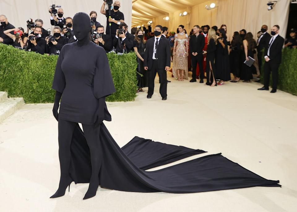Kim Kardashian wore a full-body covering by Balenciaga to last night's Met Gala. (Getty Images)