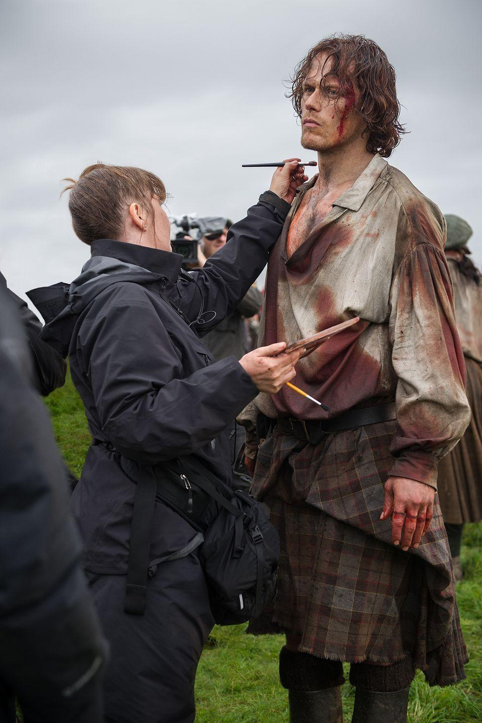 """<p>The scars take hours to apply—<a href=""""http://www.designntrend.com/articles/45856/20150330/outlander-star-sam-heughan-talks-misery-putting-makeup-hit-starz-tv-series.htm"""" rel=""""nofollow noopener"""" target=""""_blank"""" data-ylk=""""slk:every, single time."""" class=""""link rapid-noclick-resp"""">every, single time.</a></p>"""