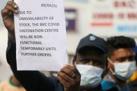 FILE PHOTO: Shortage of COVID-19 vaccine supplies at a vaccination centre, in Mumbai