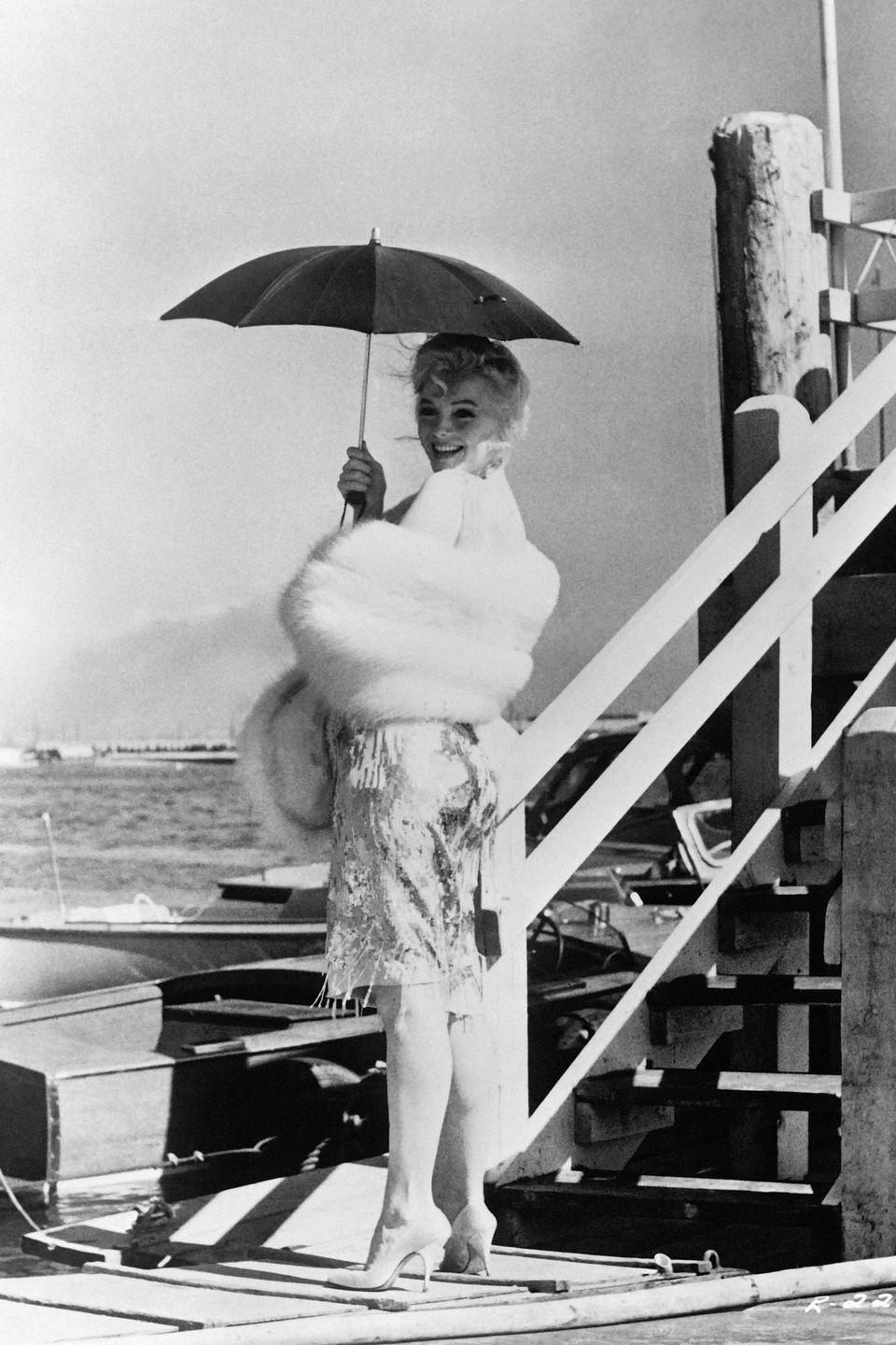 <p>Monroe on the set of <em>Some Like it Hot. </em>It became notorious for its behind the scenes difficulties, but upon its release in March 1959, it became a critical and commercial success, even earning Monroe a Golden Globe award. </p>