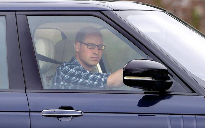 Prince William driving his Range Rover to play in the Jerudong Park Trophy charity polo match at Cirencester Park Polo Club on July 15, 2017, in Cirencester, England.