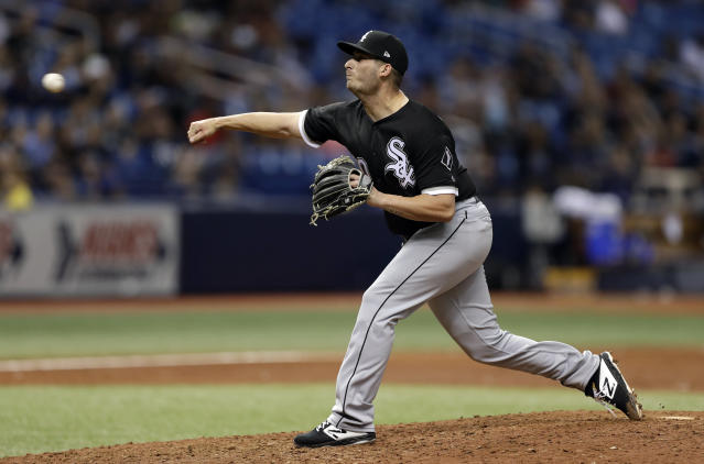 Chicago White Sox relief pitcher Tyler Danish delivers to the Tampa Bay Rays during the ninth inning of a baseball game Friday, Aug. 3, 2018, in St. Petersburg, Fla. Danish picked up the victory in the White Sox's 3-2 win. (AP Photo/Chris O'Meara)