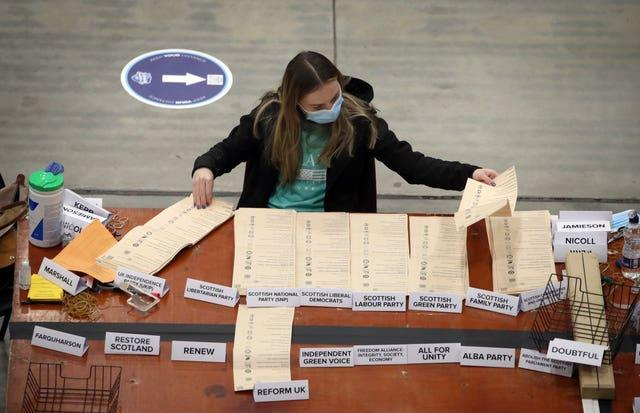 Woman counting votes