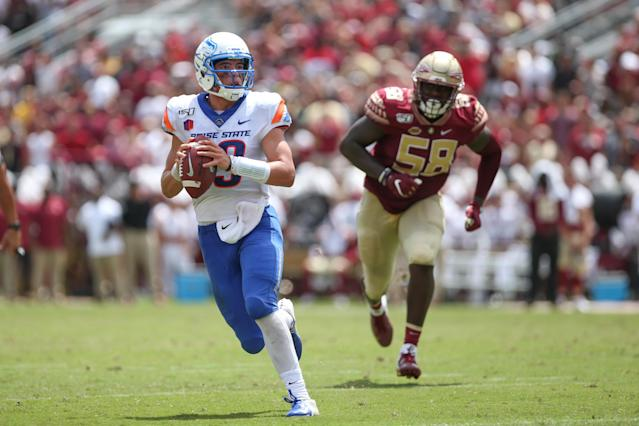 """Boise State and QB <a class=""""link rapid-noclick-resp"""" href=""""/ncaaf/players/299867/"""" data-ylk=""""slk:Hank Bachmeier"""">Hank Bachmeier</a> were down 31-13 before a big comeback. (Photo by David Rosenblum/Icon Sportswire via Getty Images)"""