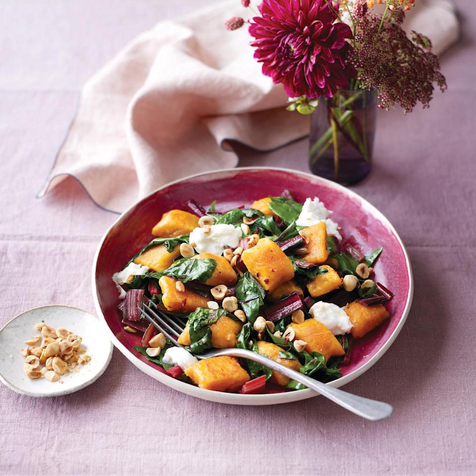 """<p>Autumn brings with it an array of squashes and pumpkins, all with their own distinct flavours and textures. Look out for coquina squash – a delicately tiger-striped variety of butternut, which has a more intense flavour and sweetness.</p><p><strong>Recipe: <a href=""""https://www.goodhousekeeping.com/uk/food/recipes/a29365609/butternut-gnocchi-chard-mozzarella/"""" rel=""""nofollow noopener"""" target=""""_blank"""" data-ylk=""""slk:Butternut Gnocchi with Chard and Mozzarella"""" class=""""link rapid-noclick-resp"""">Butternut Gnocchi with Chard and Mozzarella</a></strong></p>"""