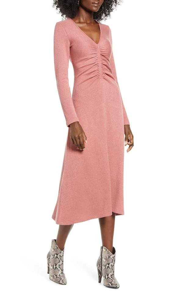 """<p>This <a href=""""https://www.popsugar.com/buy/All-Favor-Cinch-Front-Long-Sleeve-Midi-Sweater-Dress-491455?p_name=All%20in%20Favor%20Cinch%20Front%20Long%20Sleeve%20Midi%20Sweater%20Dress&retailer=shop.nordstrom.com&pid=491455&price=59&evar1=fab%3Aus&evar9=45356186&evar98=https%3A%2F%2Fwww.popsugar.com%2Fphoto-gallery%2F45356186%2Fimage%2F46627377%2FAll-in-Favor-Cinch-Front-Long-Sleeve-Midi-Sweater-Dress&list1=shopping%2Cfall%20fashion%2Csweaters%2Cdresses%2Cfall&prop13=api&pdata=1"""" rel=""""nofollow"""" data-shoppable-link=""""1"""" target=""""_blank"""" class=""""ga-track"""" data-ga-category=""""Related"""" data-ga-label=""""https://shop.nordstrom.com/s/all-in-favor-cinch-front-long-sleeve-midi-sweater-dress/5347591?origin=keywordsearch-personalizedsort&amp;breadcrumb=Home%2FAll%20Results&amp;color=pink%20adobe"""" data-ga-action=""""In-Line Links"""">All in Favor Cinch Front Long Sleeve Midi Sweater Dress</a> ($59) is comfortable and feminine.</p>"""