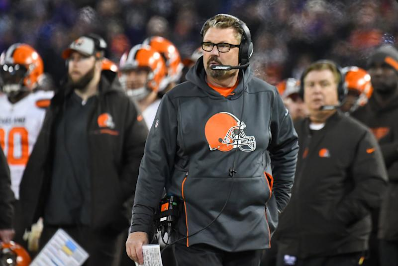 BALTIMORE, MD - DECEMBER 30, 2018: Interim head coach Gregg Williams of the Cleveland Browns watches the action from the sideline in the fourth quarter of a game against the Baltimore Ravens on December 30, 2018 at M&T Bank Stadium in Baltimore, Maryland. Baltimore won 26-24. (Photo by: 2018 Nick Cammett/Diamond Images/Getty Images)