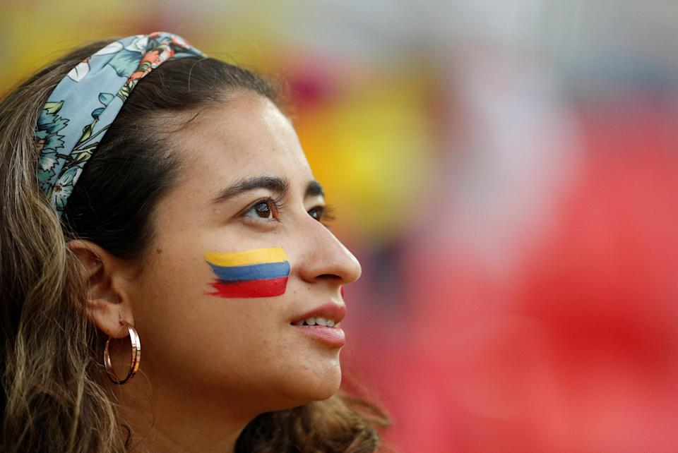 <p>A Colombia fan inside the stadium before the match REUTERS/John Sibley </p>