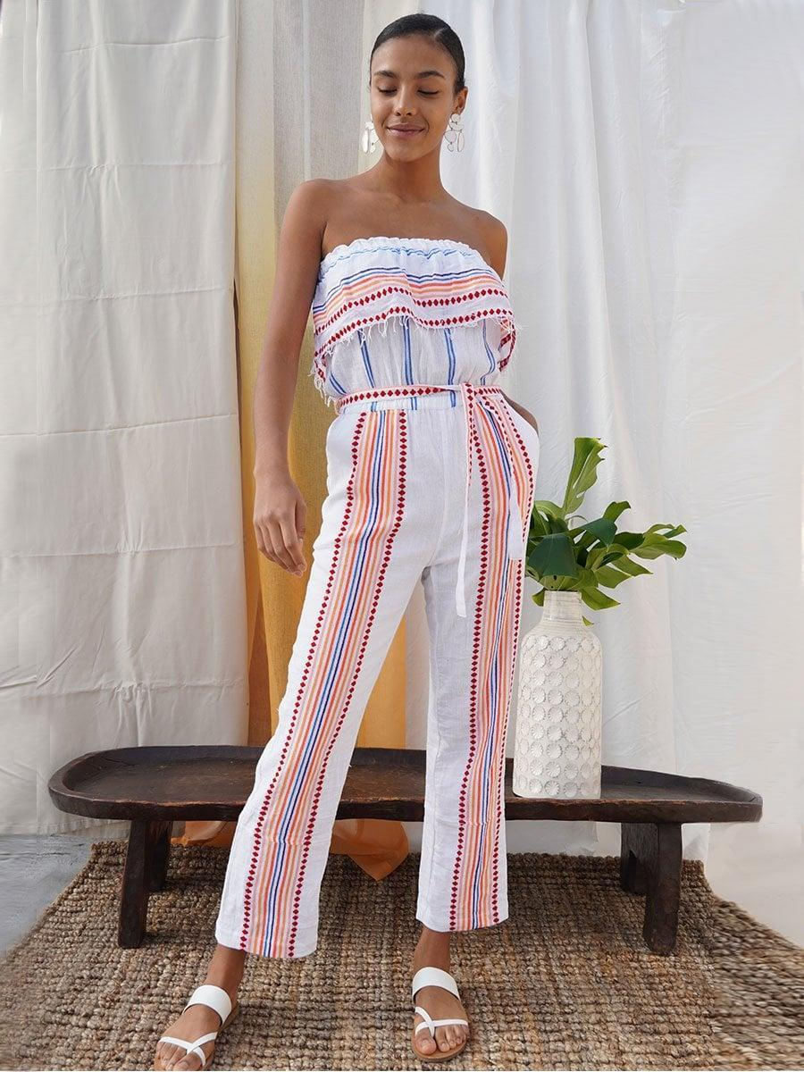 <p>This <span>Lemlem Hiwot Strapless Ruffle Jumpsuit</span> ($345) has me dreaming of a beach getaway. What really gets me is that it has pockets!</p>