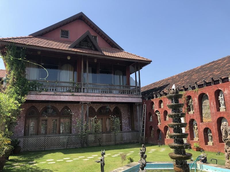 The outside of Ginger House and its courtyard.