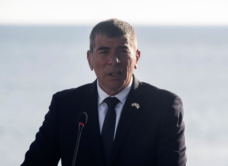 Israeli Foreign Minister Gabi Ashkenazi speaks during a joint news conference with Cypriot Foreign Minister Nikos Christodoulides, Greece's Foreign Minister Nikos Dendias and Anwar Gargash, diplomatic adviser of UAE's President, in Paphos