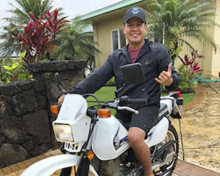 This undated photo provided by Nicole Anama shows Jordan Tehero, one of 11 people who died in the crash of a skydiving plane on the north shore of Oahu in Hawaii, Friday, June 21, 2019. Tehero took up skydiving a few years earlier as a distraction from the breakup of a relationship, his father, Garret, told The Associated Press. (Nicole Anama via AP)
