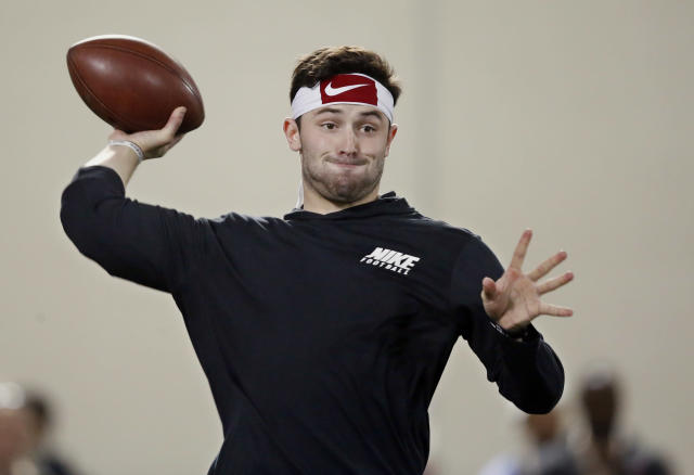 Oklahoma quarterback Baker Mayfield will likely be selected early in the first round of the NFL draft. (AP)