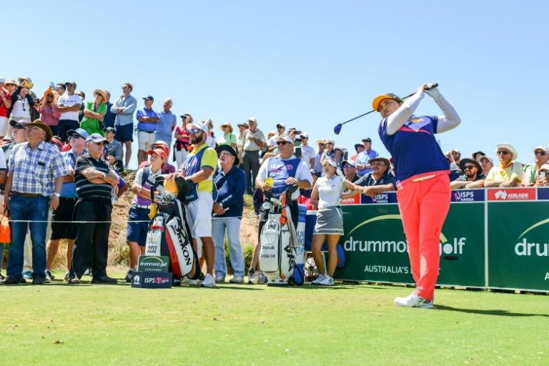 Park In-bee of South Korea tees off on the seventh hole on the final day of the LPGA Australian Open golf tournament