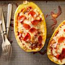 <p>Skip the dough and stuff all of your favorite pizza toppings into spaghetti squash boats for a fun and healthy dinner that'll please the whole family. We love the combination of mushrooms, bell peppers, pepperoni and mozzarella, but feel free to mix it up with your favorite pizza ingredients. You could throw in a bit of chopped cooked broccoli, for example, or add some olives or chopped artichoke hearts. And of course feel free to omit the pepperoni to make the dish vegetarian. Round out the meal with a simple salad.</p>