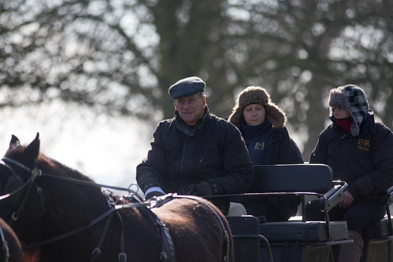 The Duke of Edinburgh goes carriage driving on the Long Walk at Windsor Castle, Berkshire.