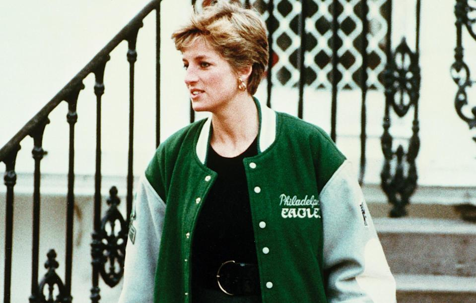 Princess Diana wore her Philadelphia Eagles jacket with blue jeans and black dresses. (AP)