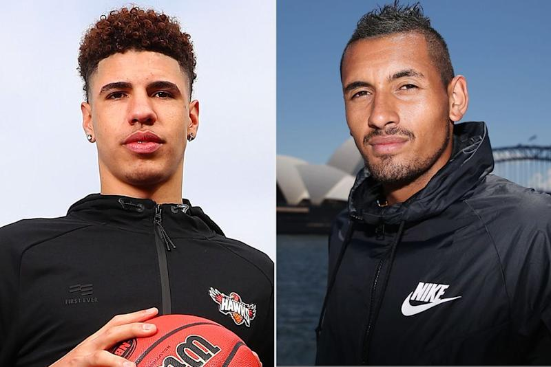 LaMelo Ball; Nick Kyrgios | Kelly Defina/Getty; Brendon Thorne/Getty