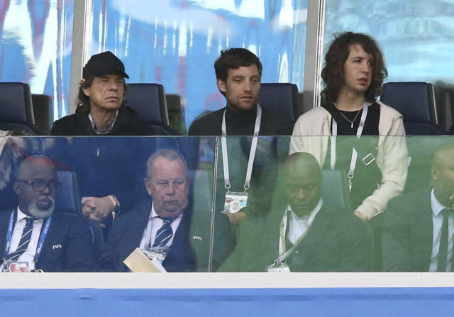 Mick Jagger and his sons James Jagger, Lucas Jagger attend the 2018 FIFA World Cup Russia Semi Final match between France and Belgium at Saint Petersburg Stadium on July 10, 2018 in Saint Petersburg, Russia. (Getty Images)