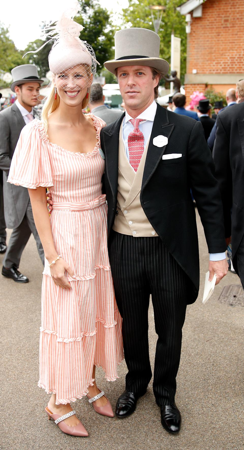 """Newlyweds Lady Gabriella Windsor and Thomas Kingston attended Ladies Day. Lady Gabriella wore a <a href=""""https://fave.co/2KB952f"""" rel=""""nofollow noopener"""" target=""""_blank"""" data-ylk=""""slk:striped midi dress"""" class=""""link rapid-noclick-resp"""">striped midi dress</a> by her wedding dress designer Luisa Beccaria and pink crystal embellished mules (£139) from <a href=""""https://fave.co/2x8Xb6I"""" rel=""""nofollow noopener"""" target=""""_blank"""" data-ylk=""""slk:Kurt Geiger"""" class=""""link rapid-noclick-resp"""">Kurt Geiger</a>.<em> [Photo: Getty]</em>"""