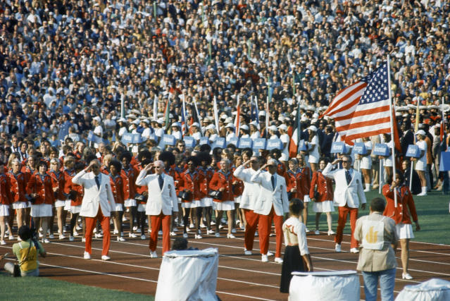 Pictured here is a view of the opening ceremonies of the 1972 Summer Olympics in Munich, Germany, Aug. 26, 1972. (AP Photo)