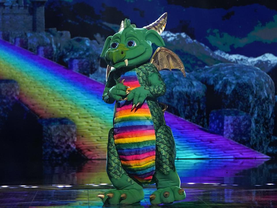 Dragon performing in the 23 January episode of The Masked Singer (ITV)