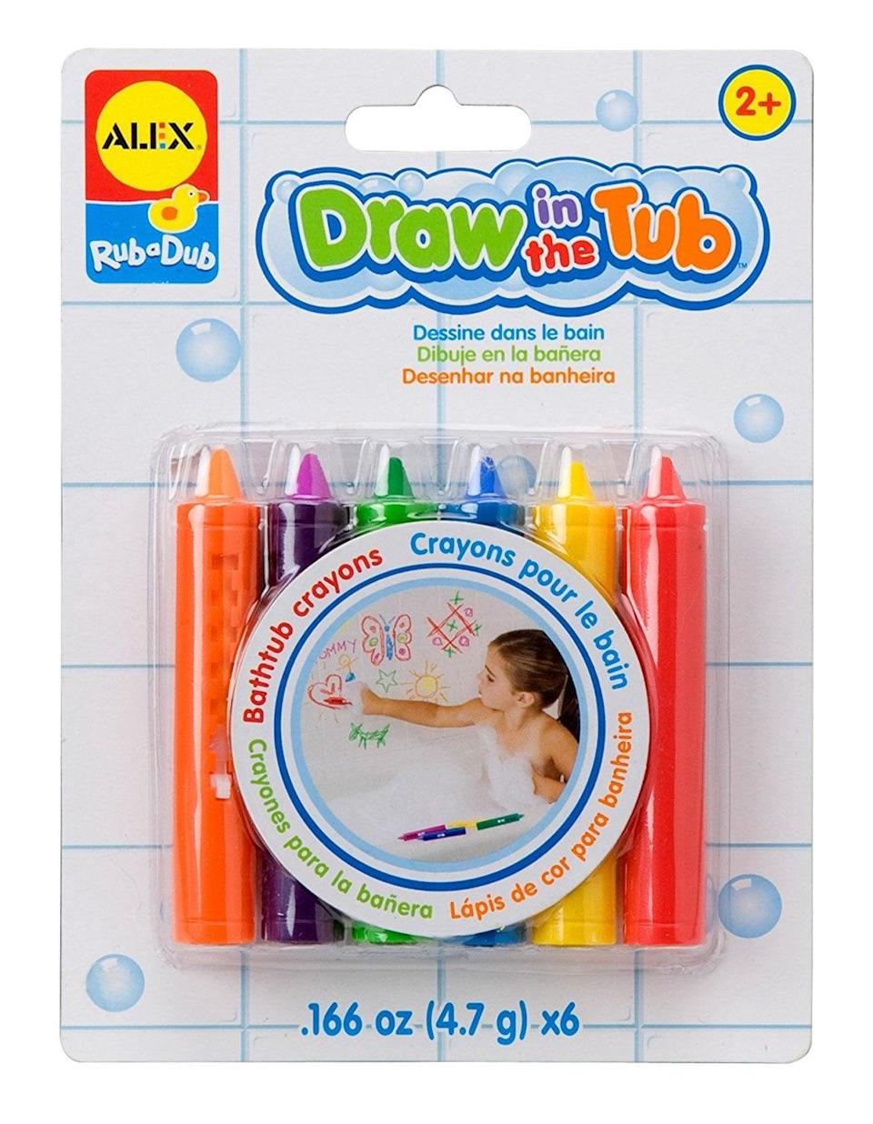 "<p>Bath time has never been this fun. With <a href=""https://www.popsugar.com/buy/ALEX-Toys-Rub-Dub-Draw-Tub-Crayons-423248?p_name=ALEX%20Toys%20Rub%20a%20Dub%20Draw%20in%20the%20Tub%20Crayons&retailer=amazon.com&pid=423248&price=9&evar1=moms%3Aus&evar9=25800161&evar98=https%3A%2F%2Fwww.popsugar.com%2Fphoto-gallery%2F25800161%2Fimage%2F44870145%2FALEX-Toys-Rub-Dub-Draw-Tub-Crayons&list1=gifts%2Choliday%2Cgift%20guide%2Cparenting%2Ckid%20shopping%2Choliday%20for%20kids%2Cgifts%20for%20toddlers%2Cbest%20of%202019&prop13=api&pdata=1"" class=""link rapid-noclick-resp"" rel=""nofollow noopener"" target=""_blank"" data-ylk=""slk:ALEX Toys Rub a Dub Draw in the Tub Crayons"">ALEX Toys Rub a Dub Draw in the Tub Crayons</a> ($9), your little Picasso can create all they want, and you don't have to stress about a mess.</p>"