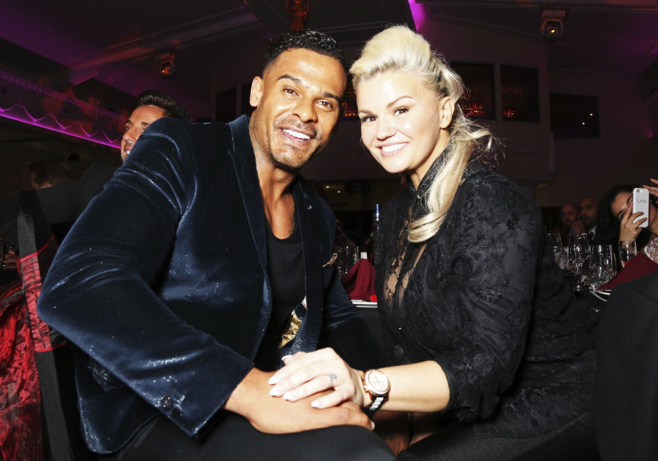 MITCHAM, ENGLAND - OCTOBER 27:  Kerry Katona (R) and George Kay attend the annual Elbrook Gala Dinner in aid of The British Asian Trust and their newly launched