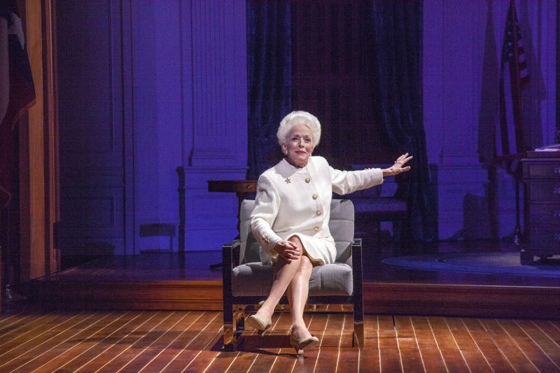 "This image released by PBS shows Holland Taylor portraying the late Texas Gov. Ann Richards in a scene from ""Ann,"" an adaption of the Tony-nominated play, premiering Friday, June 19. on PBS. (Ave Bonar/PBS via AP)"