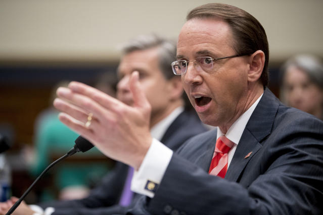Deputy Attorney General Rod Rosenstein testifies before a House Judiciary Committee hearing in Washington, D.C., on Thursday. (AP Photo/Andrew Harnik)