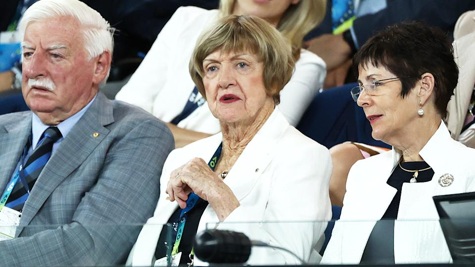Margaret Court, pictured here watching the women's singles final at the Australian Open.