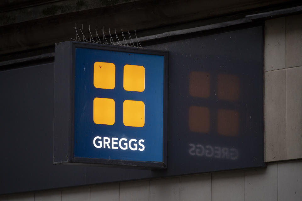 CARDIFF, WALES - NOVEMBER 16: A close-up of a Greggs store sign on November 16, 2020 in Cardiff, Wales. Many UK businesses are announcing job losses due to the effects of the coronavirus pandemic and lockdown. (Photo by Matthew Horwood/Getty Images)