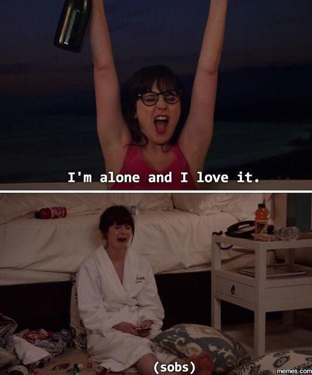 """<p>Let's be honest: We're all Jessica Day from <em>New Girl</em> when it comes to being single on February 14. </p><p><strong>RELATED: </strong><a href=""""https://www.goodhousekeeping.com/life/relationships/g30717227/being-single-quotes/"""" rel=""""nofollow noopener"""" target=""""_blank"""" data-ylk=""""slk:40 Quotes About Being Single Because Self-Love Is the Best Love"""" class=""""link rapid-noclick-resp"""">40 Quotes About Being Single Because Self-Love Is the Best Love</a></p><p><a href=""""https://www.instagram.com/p/B8LNa5th1ue/"""" rel=""""nofollow noopener"""" target=""""_blank"""" data-ylk=""""slk:See the original post on Instagram"""" class=""""link rapid-noclick-resp"""">See the original post on Instagram</a></p>"""