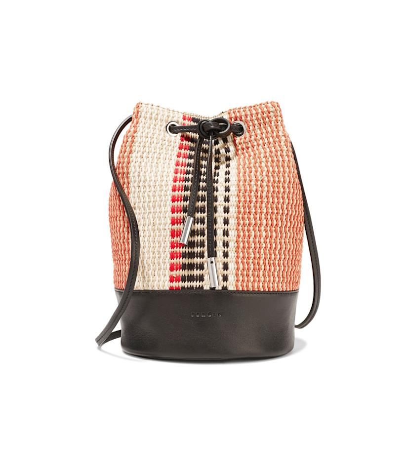 "<p>Woven Straw Leather Bucket Bag, $188, <a rel=""nofollow"" href=""https://www.theoutnet.com/en-US/Shop/Product/Sandro/Woven-straw-and-leather-bucket-bag/909334"">theoutnet.com</a>. </p>"