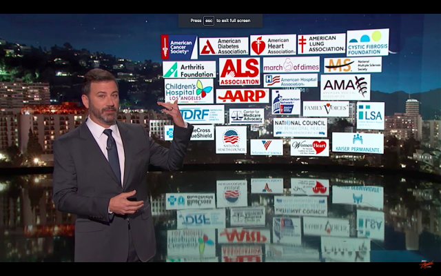 Dozens of medical associations and insurancegroups have come out against the Graham-Cassidy legislation to repeal Obamacare. (Jimmy Kimmel Live)