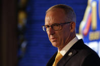 SEC Commissioner Greg Sankey speaks to reporters during the NCAA college football Southeastern Conference Media Days Monday, July 19, 2021, in Hoover, Ala. (AP Photo/Butch Dill)