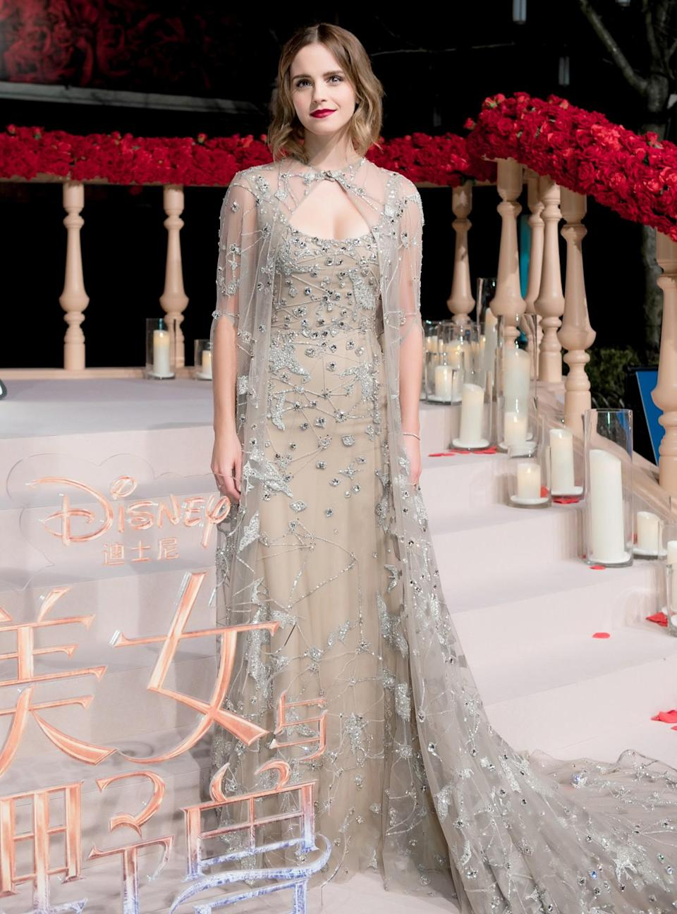 <p>Emma Watson transformed into a Disney princess yet again for the Shanghai premiere of 'Beauty and the Beast'. Wearing a nude embellished gown by Elie Saab, the actresses look has been described as a modern day wedding dress. <em>[Photo: Getty]</em> </p>