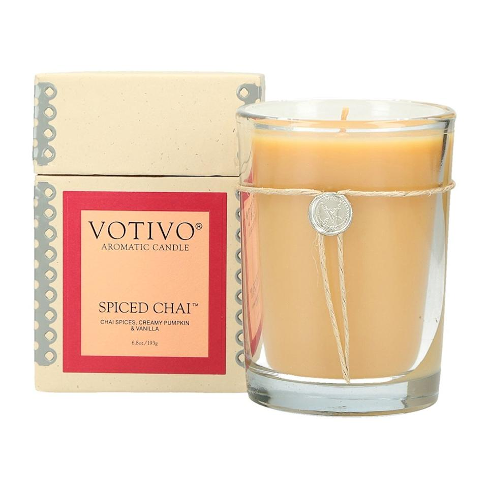 "<h3><a href=""https://www.amazon.com/Votivo-Aromatic-Candle-Spiced-Chai/dp/B07D8VZ1CZ/ref=sr_1_74"" rel=""nofollow noopener"" target=""_blank"" data-ylk=""slk:Votivo Spiced Chai Candle"" class=""link rapid-noclick-resp"">Votivo Spiced Chai Candle</a> </h3><br>Infused with notes of chai spices, pumpkin, vanilla, amber, resin, and sandalwood, reviewers attest that this fall-essential candle is simply, ""amazing."" <br><br>One sensitive-sniffer went so far as to leave the following detailed praise: ""When it comes to scented candles, a little can go a long way. It may be that I have a sensitive nose so it is important that a candle complements the mood/atmosphere and not become something distracting. This candle has a lovely and subtle aroma that is relaxing and soothing. I like to use it when I am studying, reading a book, or decompressing after a long week (works even better with a glass of nice red wine). Highly recommended.""<br><br><strong>Votivo</strong> Spiced Chai Candle, $, available at <a href=""https://www.amazon.com/Votivo-Aromatic-Candle-Spiced-Chai/dp/B07D8VZ1CZ/ref=sr_1_74"" rel=""nofollow noopener"" target=""_blank"" data-ylk=""slk:Amazon"" class=""link rapid-noclick-resp"">Amazon</a>"