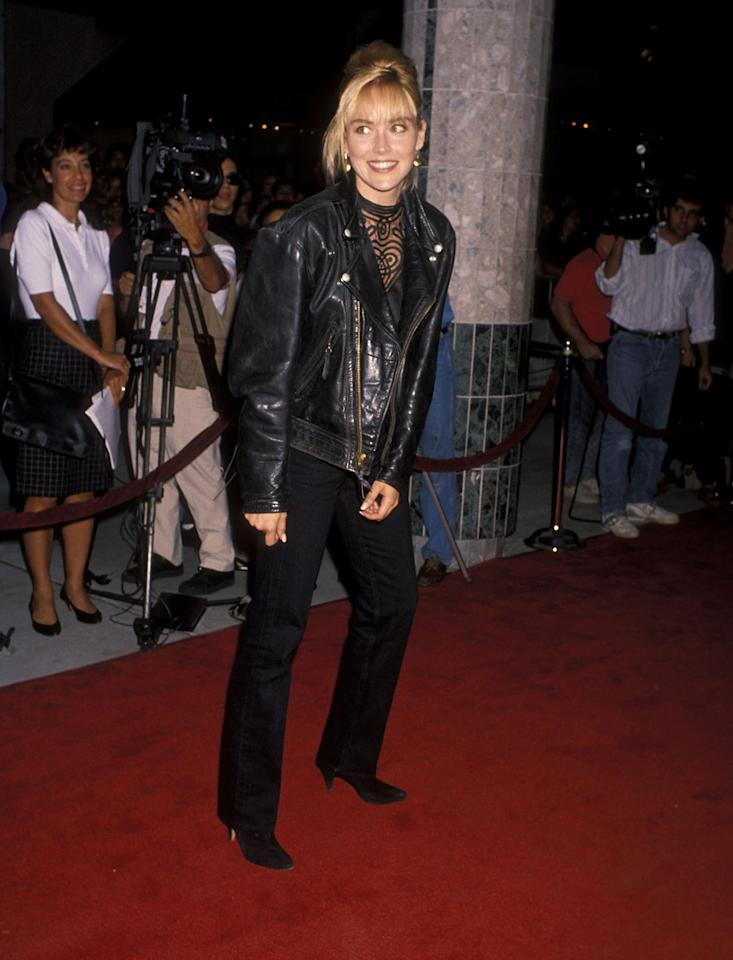 <p>Sharon Stone makes a leather jacket red-carpet appropriate at the premiere of <em>Wild at Heart</em> in Universal City, California, August 1990.</p>
