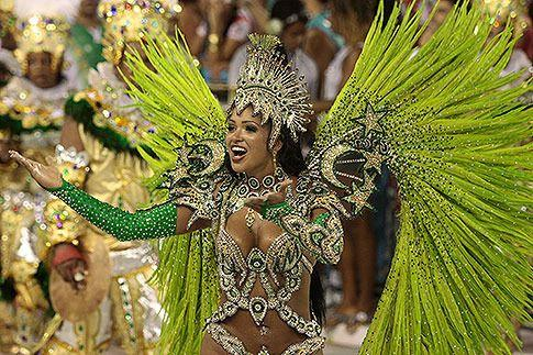 Mocidade Independente's queen of the drums Thatiana Pagung dances during the samba school's parade at the 2010 Carnival. Photo: Getty