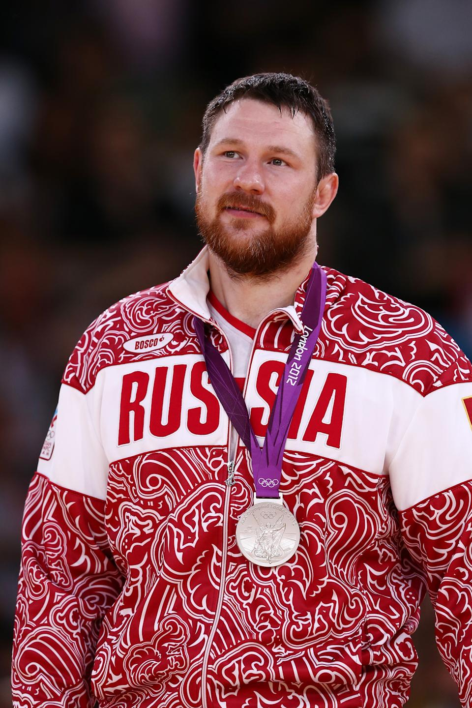 LONDON, ENGLAND - AUGUST 03: Silver medalist Alexander Mikhaylin of Russia in the Men's 100 kg Judo on Day 7 of the London 2012 Olympic Games at ExCeL on August 3, 2012 in London, England. (Photo by Quinn Rooney/Getty Images)