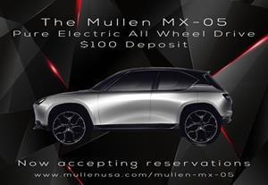 """""""Reservations for the Mullen MX-05 SUV are now being accepted."""""""