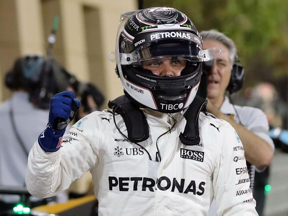Valtteri Bottas celebrates after taking pole position in Bahrain (Getty)