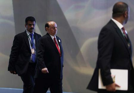 FILE PHOTO: Yemen's President Abd-Rabbu Mansour Hadi is pictured ahead of the 29th Arab Summit in Dhahran, Saudi Arabia April 15, 2018. REUTERS/Hamad I Mohammed/File Photo