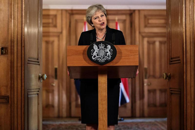 Prime Minister Theresa May speaking in Downing Street (PA Wire/PA Images)