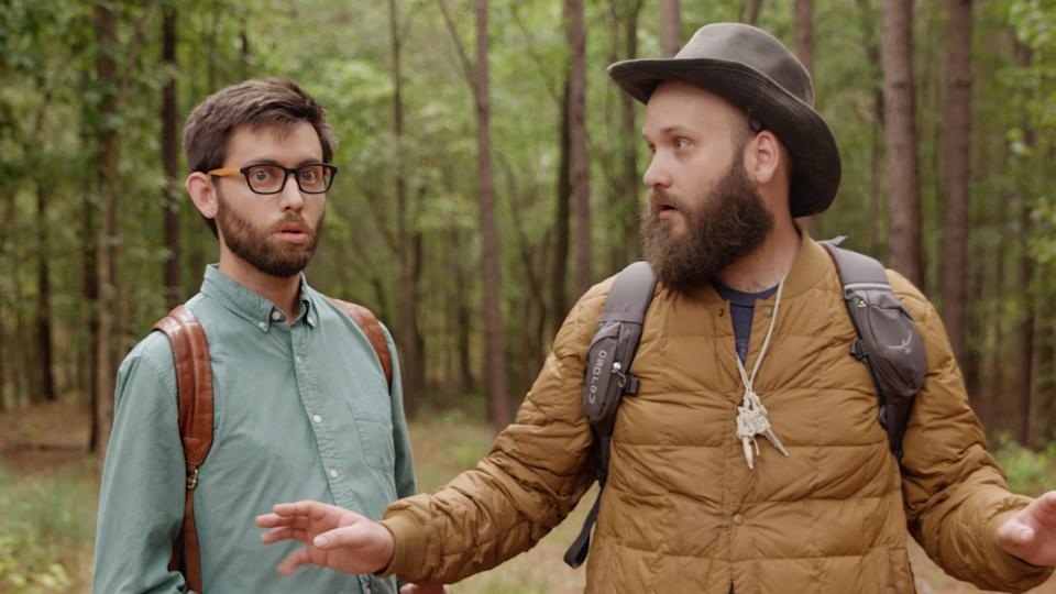"""A vlogger (left, Brian Emond) goes down south and gets the 411 on Sasquatch from a cryptozoologist (Jeffrey Stephenson) in """"15 Things You Didn't Know About Bigfoot."""""""